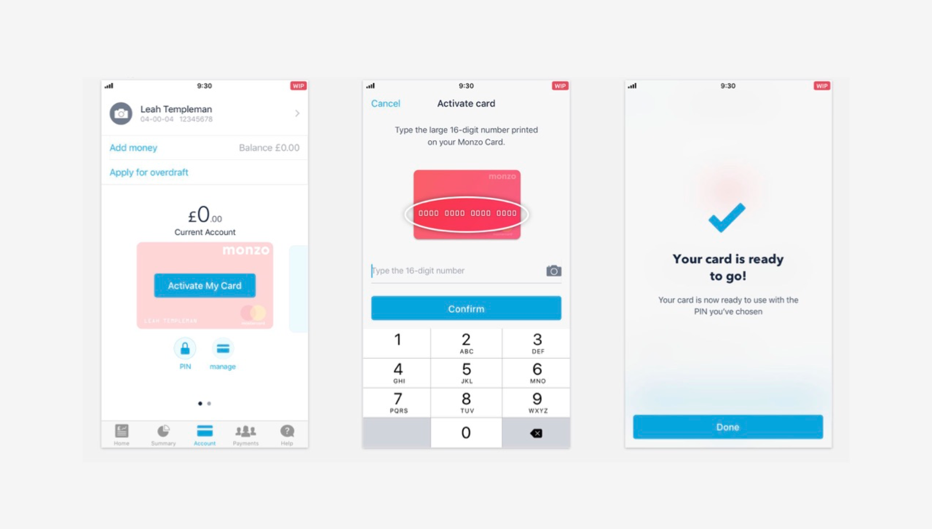 Monzo card activation