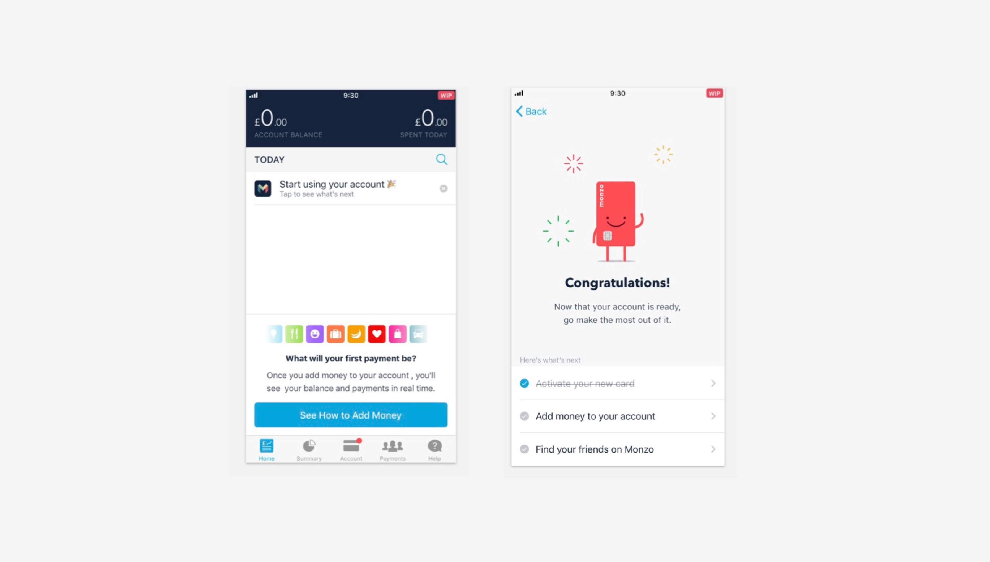 Monzo welcome screen